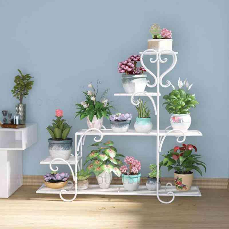 Flower Shelf Indoor Balcony Flower Stand Iron Hanging Orchid Rack Living Room Floor Simple Pot