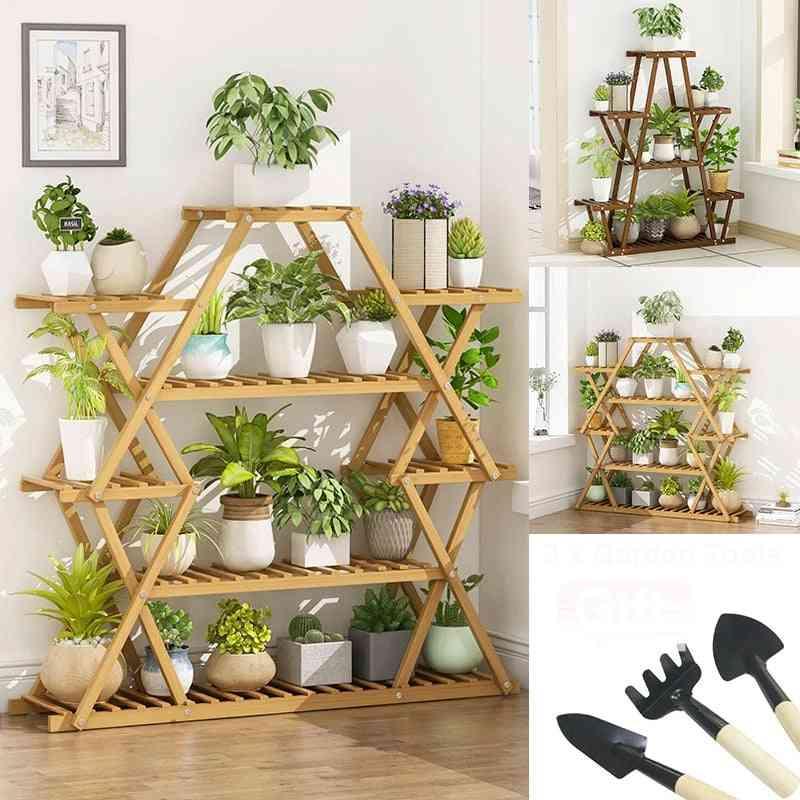 Six Tier Wooden Plant Stand Flower Patio Garden Planter Pot Shelf Multi Bonsai Display Outdoor Indoor