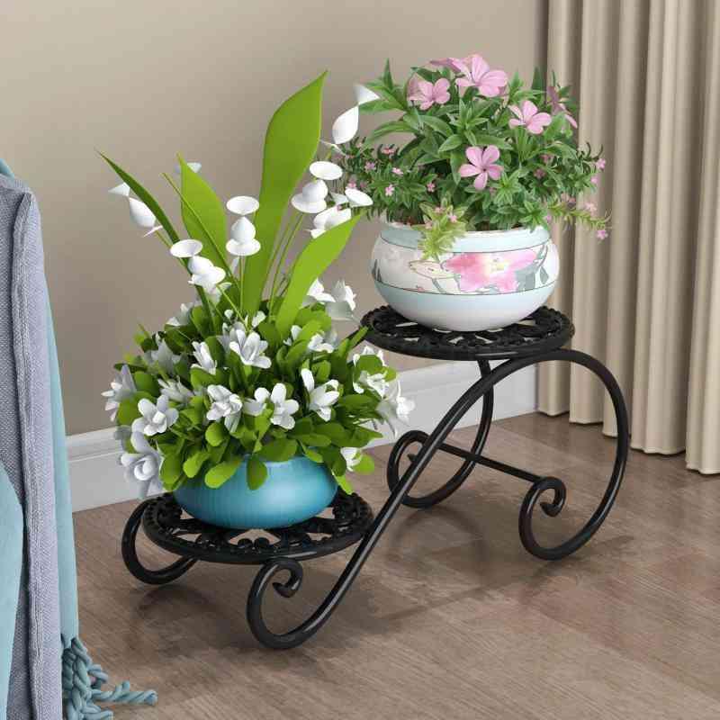 Wrought Iron Multilayer Shelf Floor Type Multifunctional Indoor Ground Flowerpot European Household
