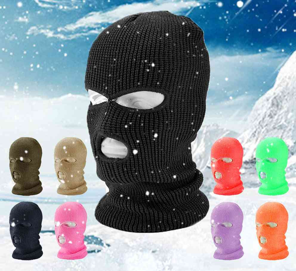 Full Face Cover Mask, Three Hole, Balaclava Knit Hat, Army Tactical Winter Ski Cycling Masks, Scarf Warm Face