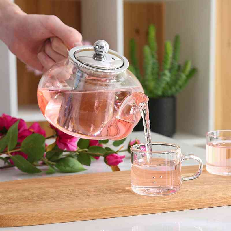 Glass Teapot With Stainless Steel Infuser, Strainer, Heat Resistant, Loose Leaf Tool Kettle Set
