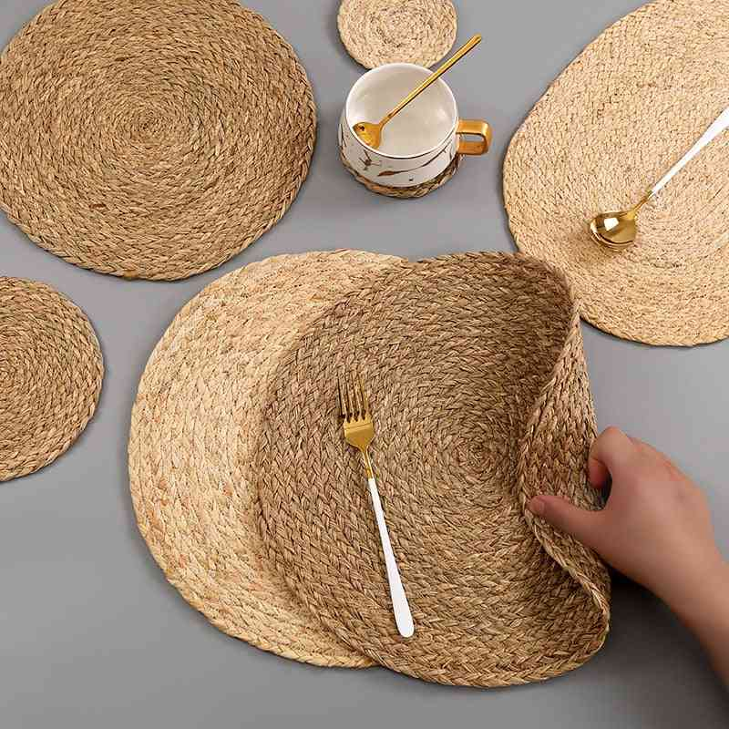 Handmade Weave Non-slip Placemat Coaster Corn Hull