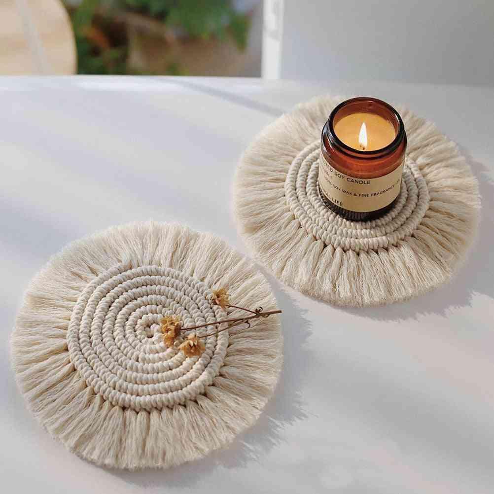 Cotton Braid Coaster Handmade Cushion Bohemia Style Cup Mat