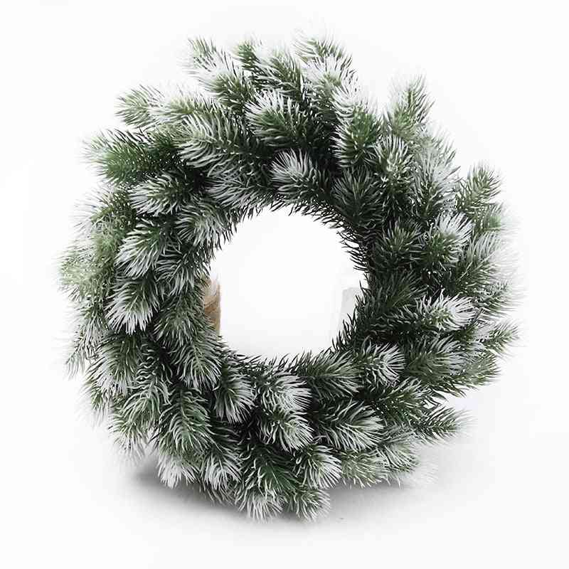 Christmas Wreath Material Artificial Plants Wedding Decorative Flowers Plastic Pine Needle Snowflake