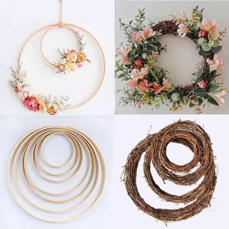 Diy Hanging Wreath Rattan, Bamboo & Metal Wreath Iron Ring