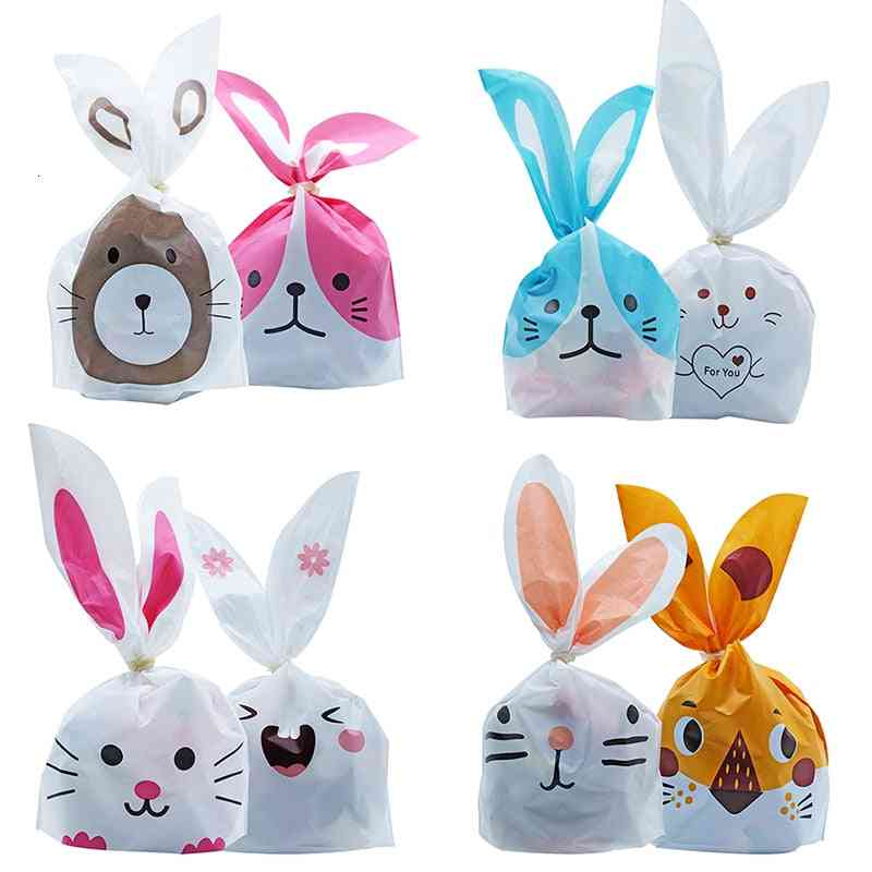 Cute Rabbit Ear Cookie Plastic Candy Bags For Biscuits Snack Baking Package Event Party Supplies