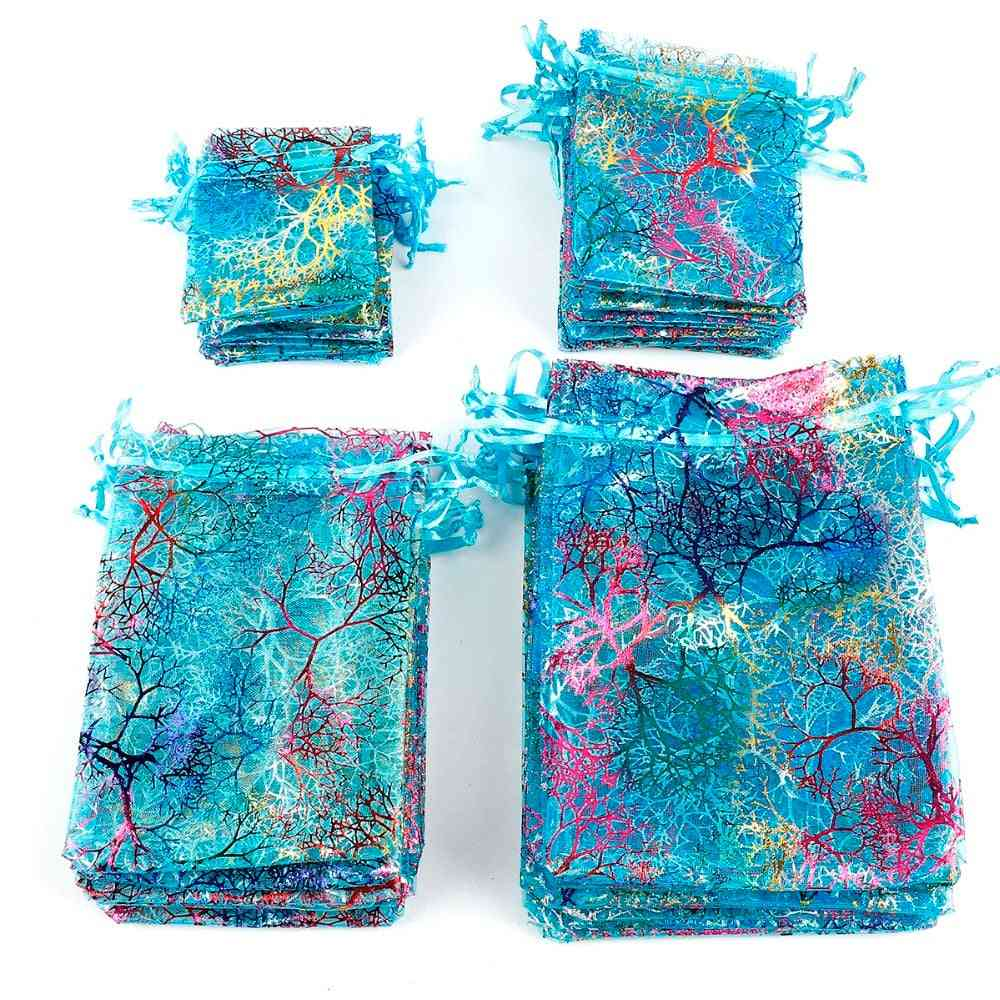7x9cm 9x12cm 10x15cm Colorful Organza Bags Jewelry Packaging Wedding Favor Drawstring Pouches