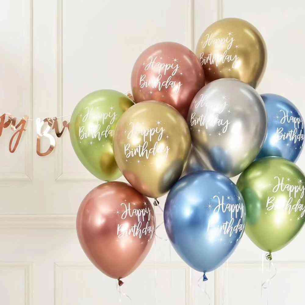 12inch Chrome Metallic Latex Balloons, Happy Birthday Printed Pattern - Party Decorations