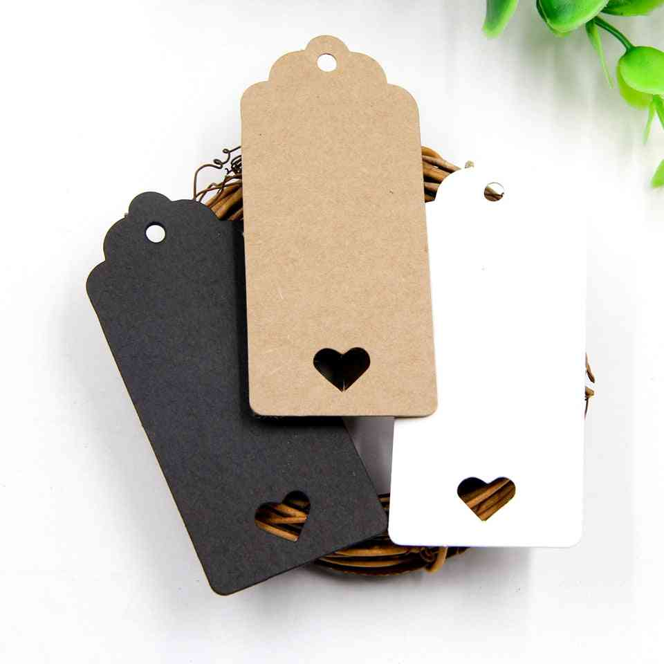 Kraft Paper Tag, Hollow Love Labels Card, Hang Wedding Party Note, Blank Wrapping