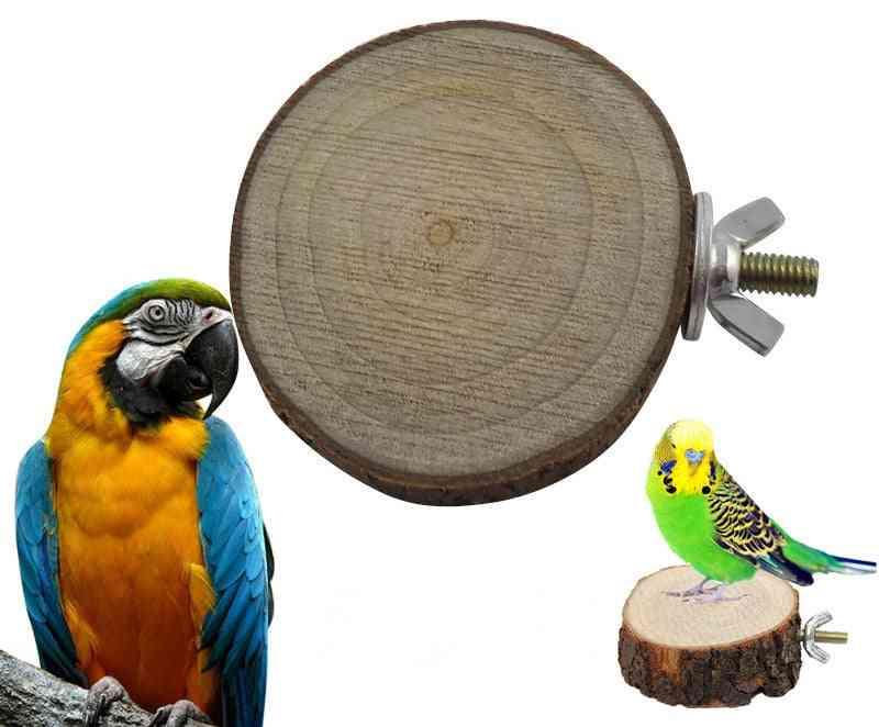 Round Wooden Squirrel, Parrot, Bird Perch Stand Platform, Pet Hanging Toy