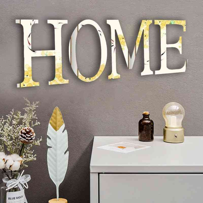 Home Love Characters Self-adhesive 3d Acrylic Letters Mirror Sticker