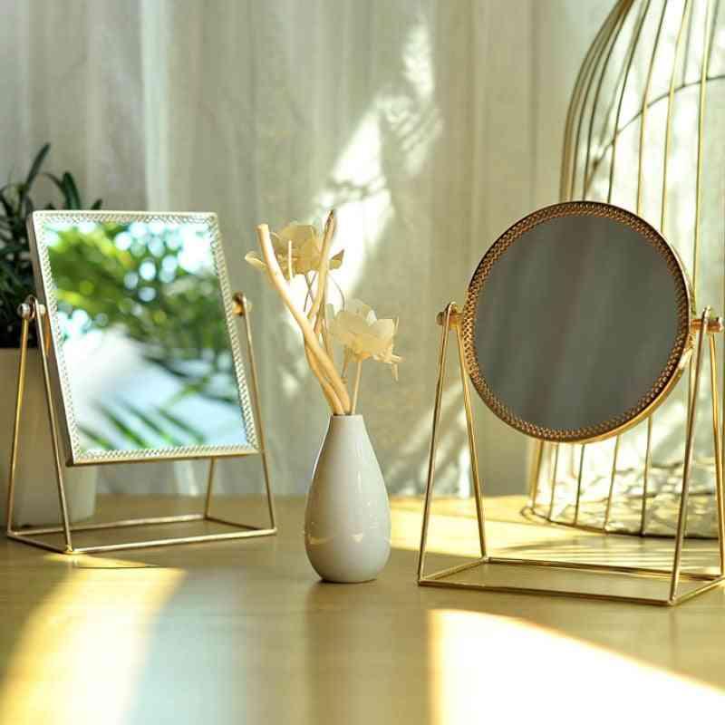 Light Luxury Retro European Home Desktop Square Round Mirror