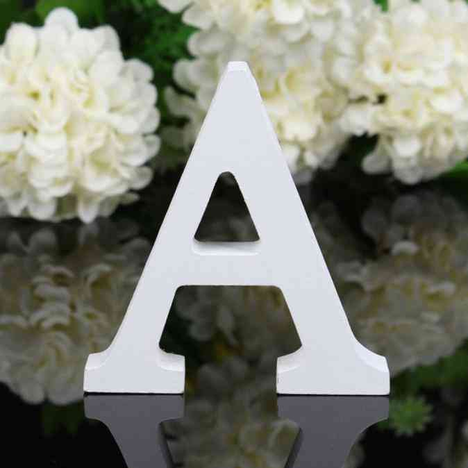 1pc Diy Freestanding Wooden Letters White Alphabet Wedding Birthday Party Decorations