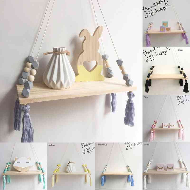Nordic Style Colorful Beads Tassel Wooden Shelf Wall Clapboard