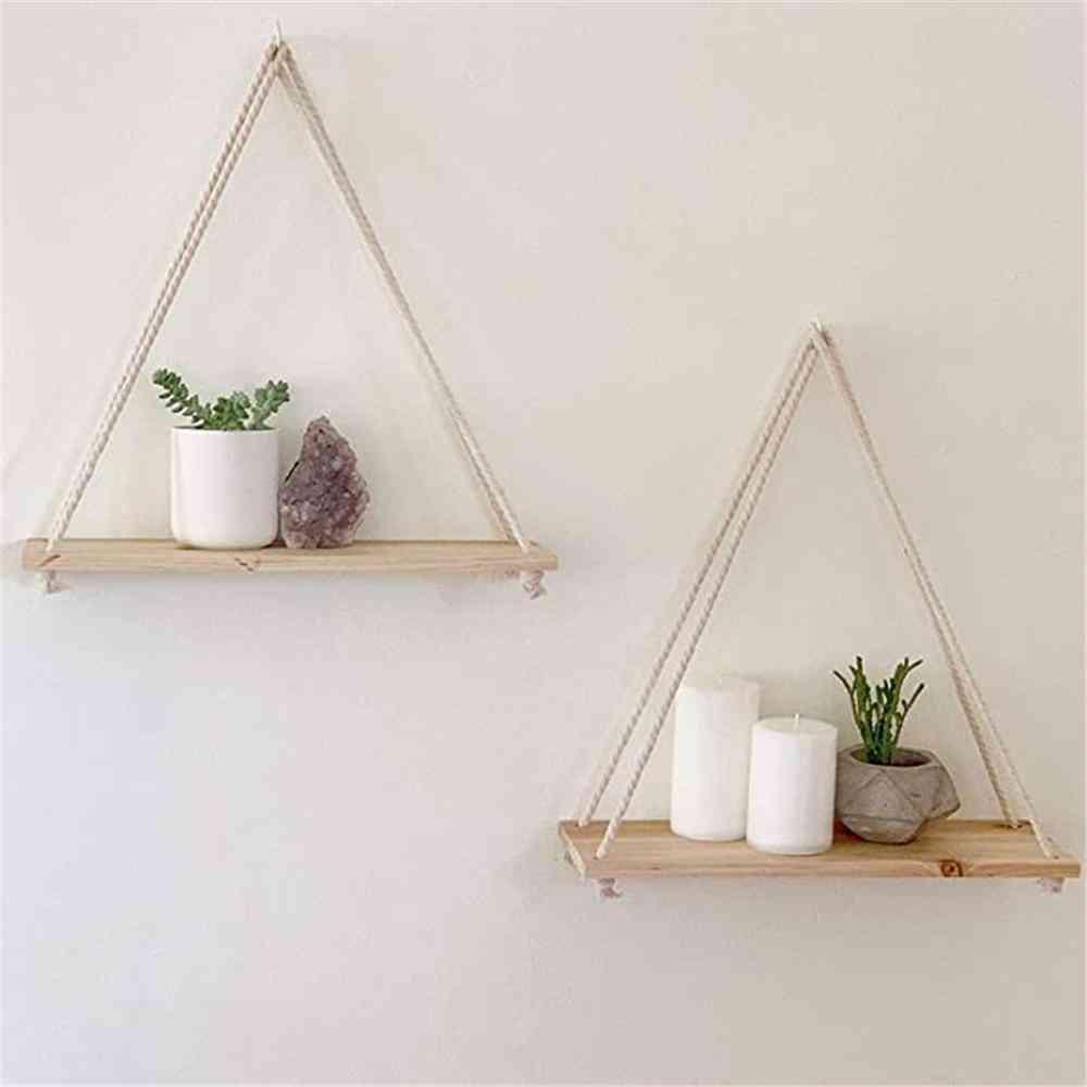 Premium Wood Swing Hanging Rope Wall Mounted Floating Shelves