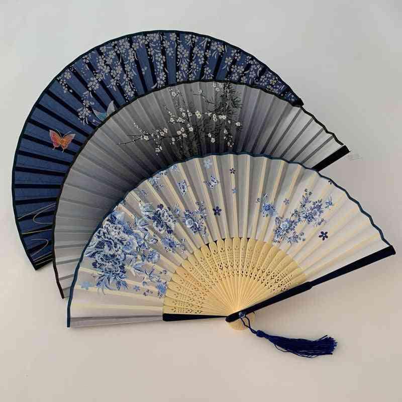 Chinese Japanese Pattern Art Craft Vintage Style Silk Folding Fan