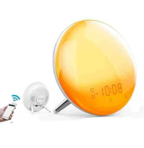 Wifi 2nd Generation Smart Alarm Clock With 7 Colors Sunrise/sunset Simulation Compatible With Alexa Google