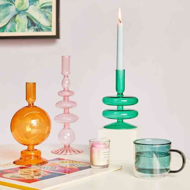 Taper Candle Holders- Glass Candlesticks For Home Wedding