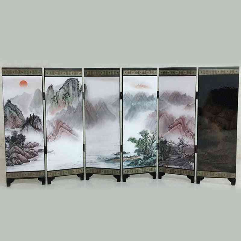 1 Pcs Wooden Chinese Style Vintage Retro Small Folding Panel Screen Room Divider