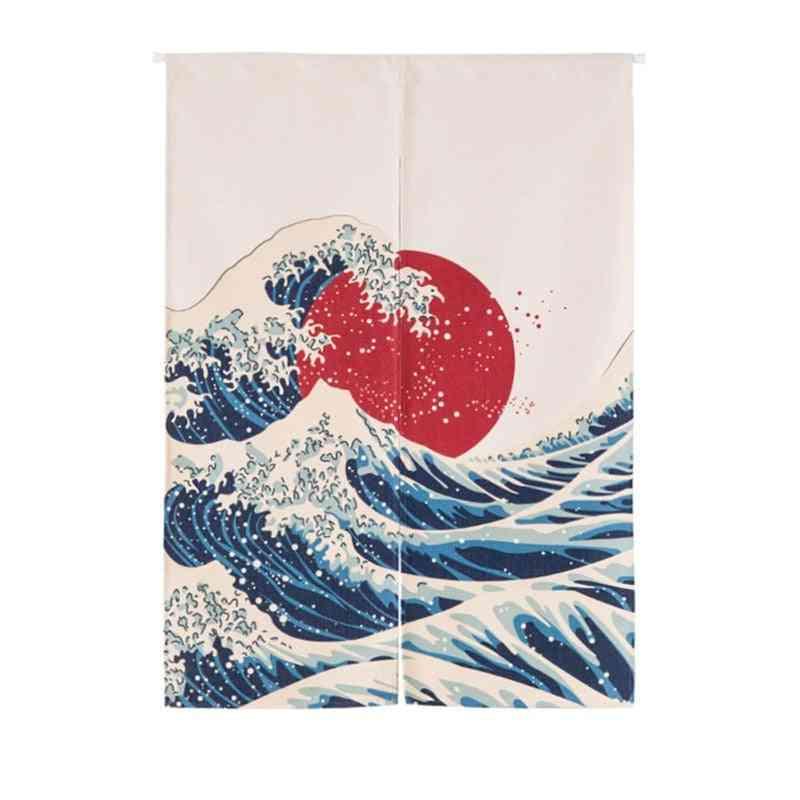 Japanese Noren Cotton Linen Printed Decor Doorway Curtain Wall Hanging Divider