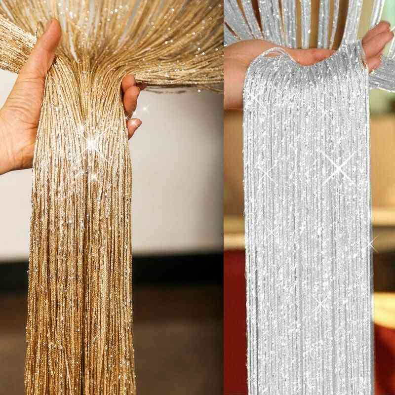 Glitter String Door Curtain Room Dividers Beaded Fly Screen Fringe Wedding Decor