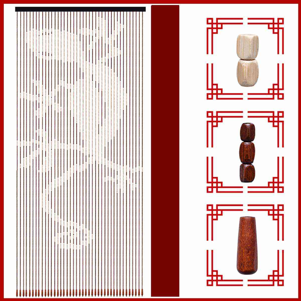 Wood Bead Curtain Gourd Hanging Door Curtain Household Partition Curtain Feng
