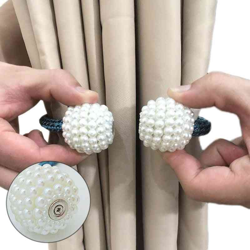 1x Pearl Magnetic Curtain Clip Curtain Holders Tie Back Buckle Clips For Home Decor