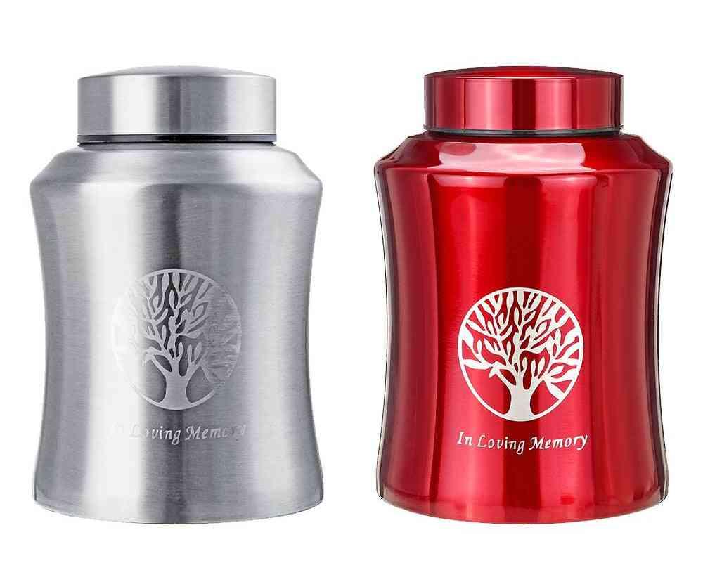 Mini Stainless Steel- Pet Memorial Urn, Cremation Casket, Storage Jar
