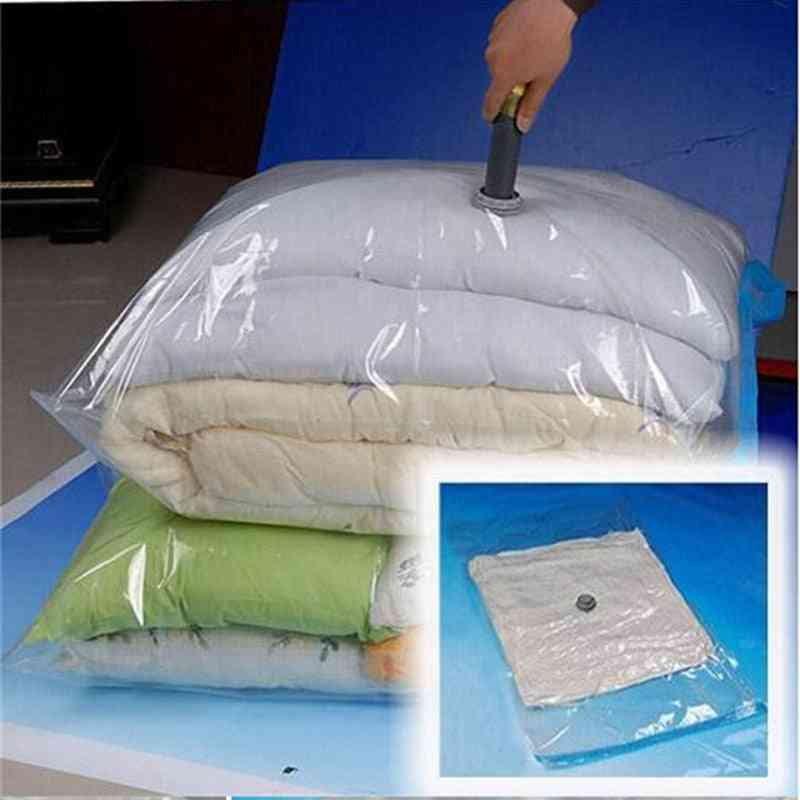 Vacuum Storage Bag Quilt Transparent Foldable Extra Large Compressed Organizer Saving Space Clothing