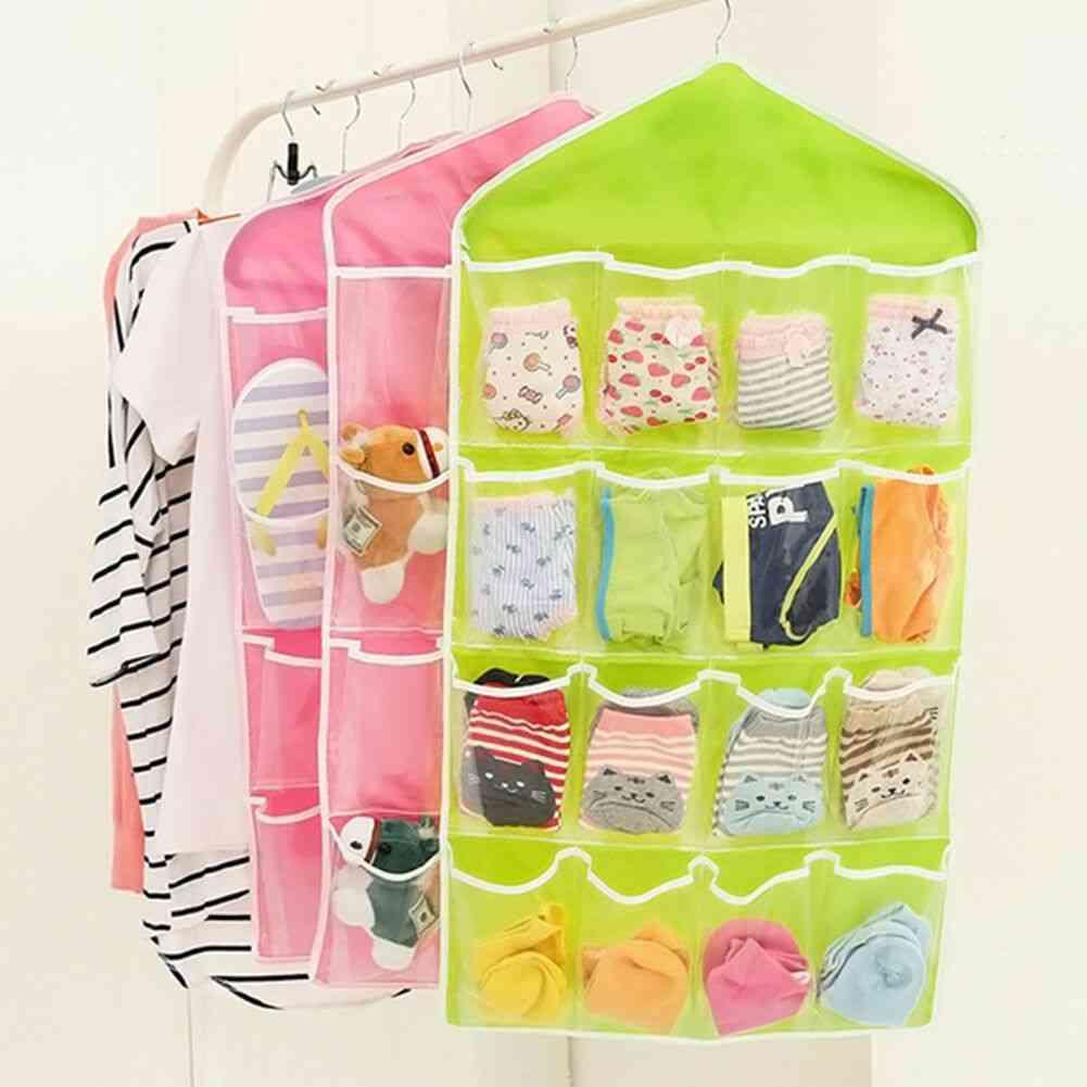 16 Pockets Socks Bra Underwear Hanging Organizer Tidy Rack Hanger Storage Door Bag For Household
