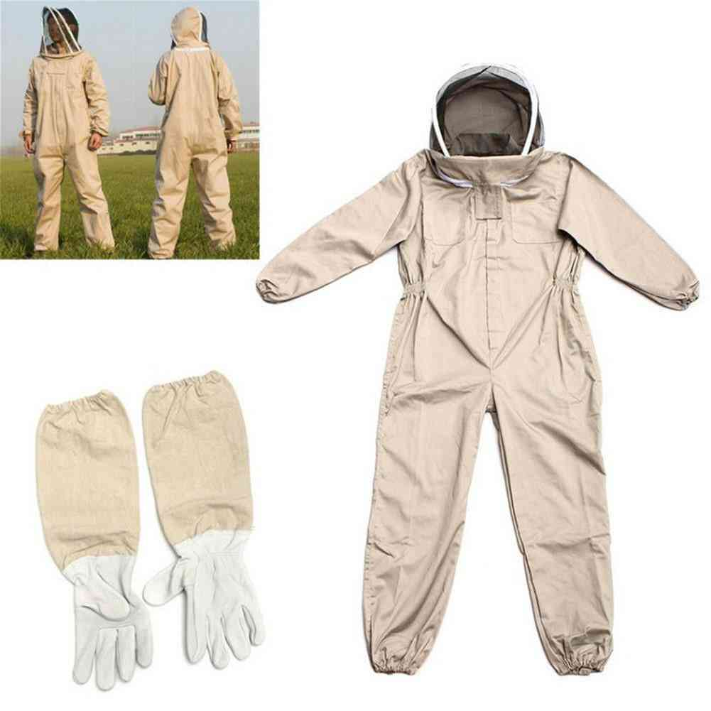 Professional Ventilated Full Body Beekeeping Suit With Leather Gloves