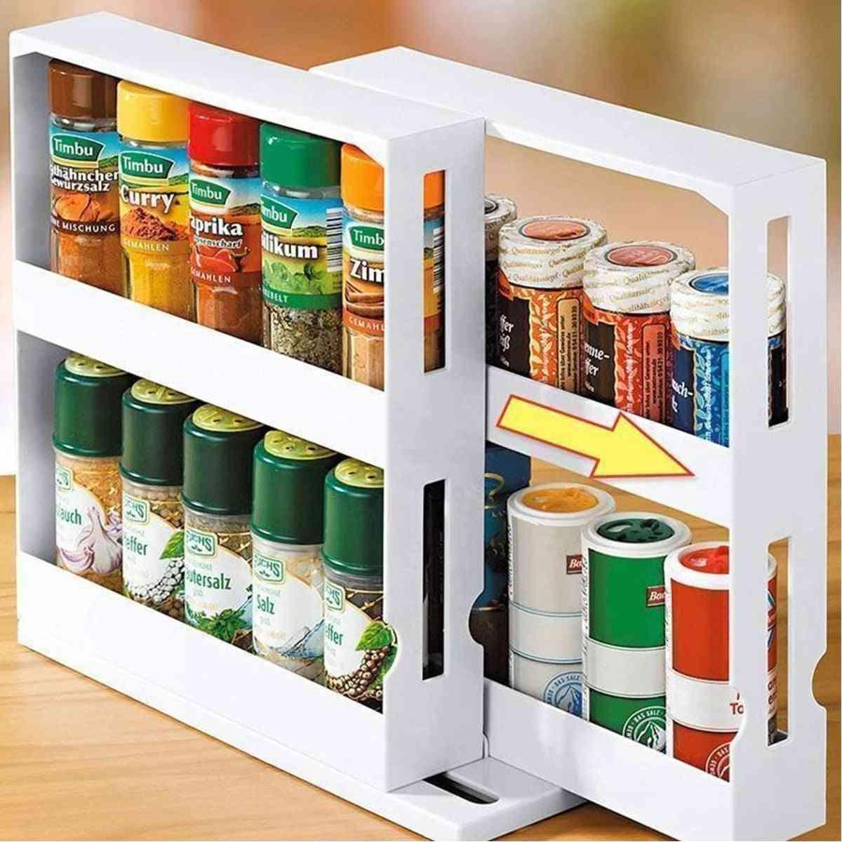 2 Layer Storage Kitchen Rotating Organize Spices Jar Bottle Storage Rack Kitchen Bottle Storage Organizer Shelves Slide Cabinet