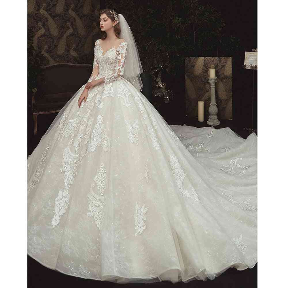 Beading Pearls Appliques Lace Illusion Princess Ball Gown, Women Dress