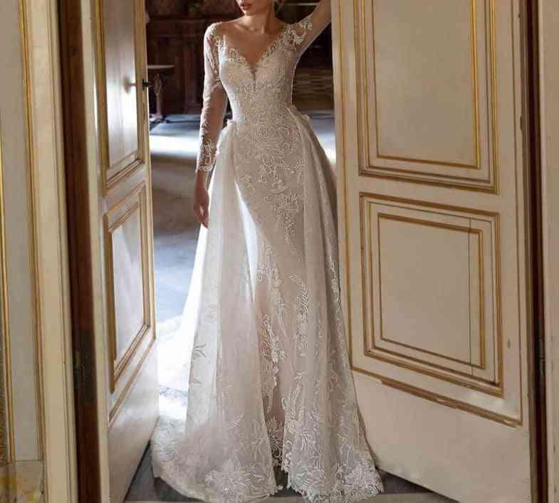 Detachable Train Lace Mermaid Dress