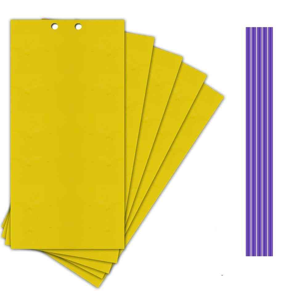 5pcs Two-face Paste Insect Board Double-sided Bug Fly Stickers - Insect Catcher (light Yellow)