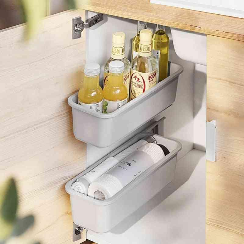 Hanging Storage Basket Kitchen Organizer Rack Wall-mounted Storage Drawer Shelf Rack Cabinet Push-pull Basket For Seasoning