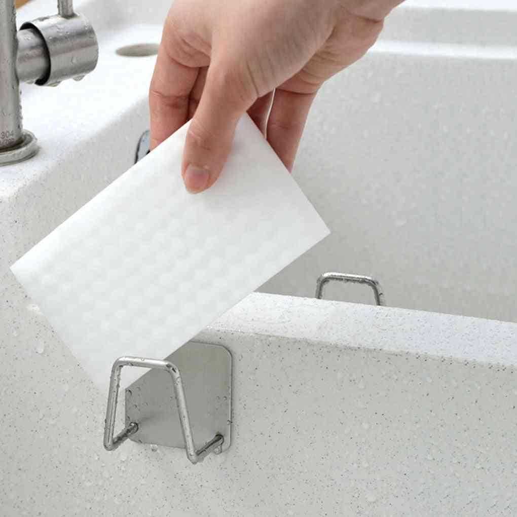 Kitchen 304 Stainless Steel Sponges Holder, Self Adhesive Sink Sponges Drain Drying Rack