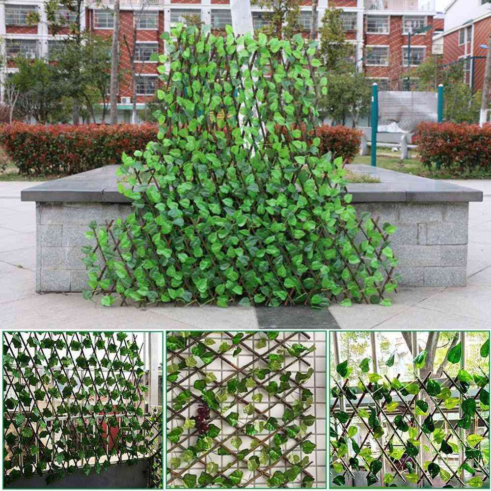Adjustable Retractable Artificial Leaf Roll Uv Fade Protected Privacy Hedging Wall Fence