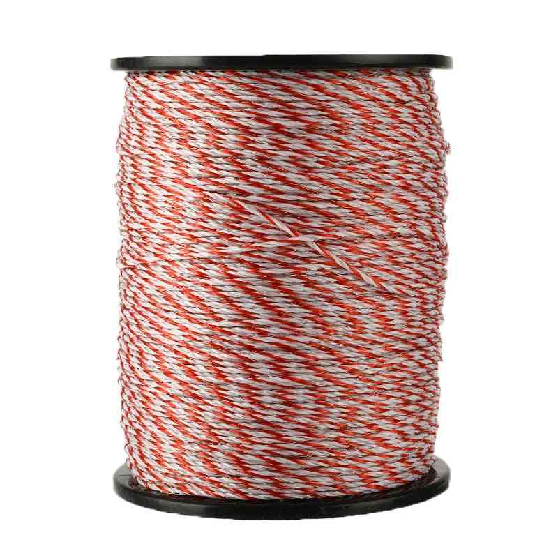 500m Roll Electric Fence Rope Red White Polywire