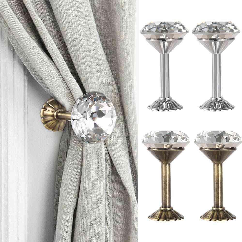 Shiny Rhinestone Curtain Hook Tieback Wall Mounted Hanging Home Bedroom Diy Decoration Zinc Alloy Exquisite Diamond Theme