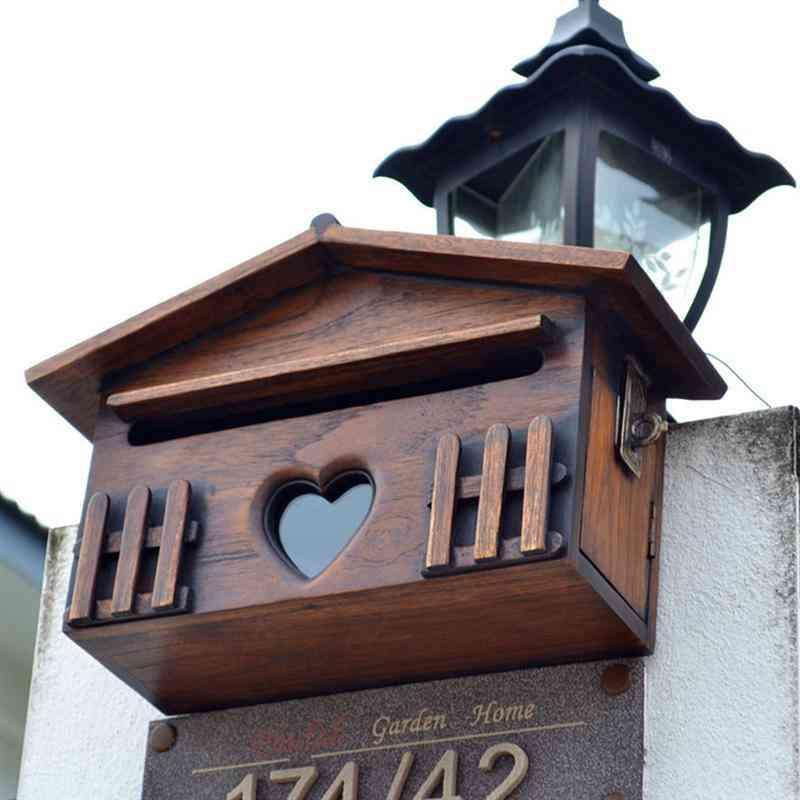 1pc Wooden Outdoor  Rainproof Suggestion Post Box