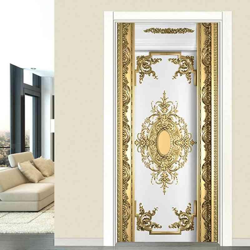 Waterproof- Self-adhesive Luxury Gold Carvings, Wallpaper Door Sticker