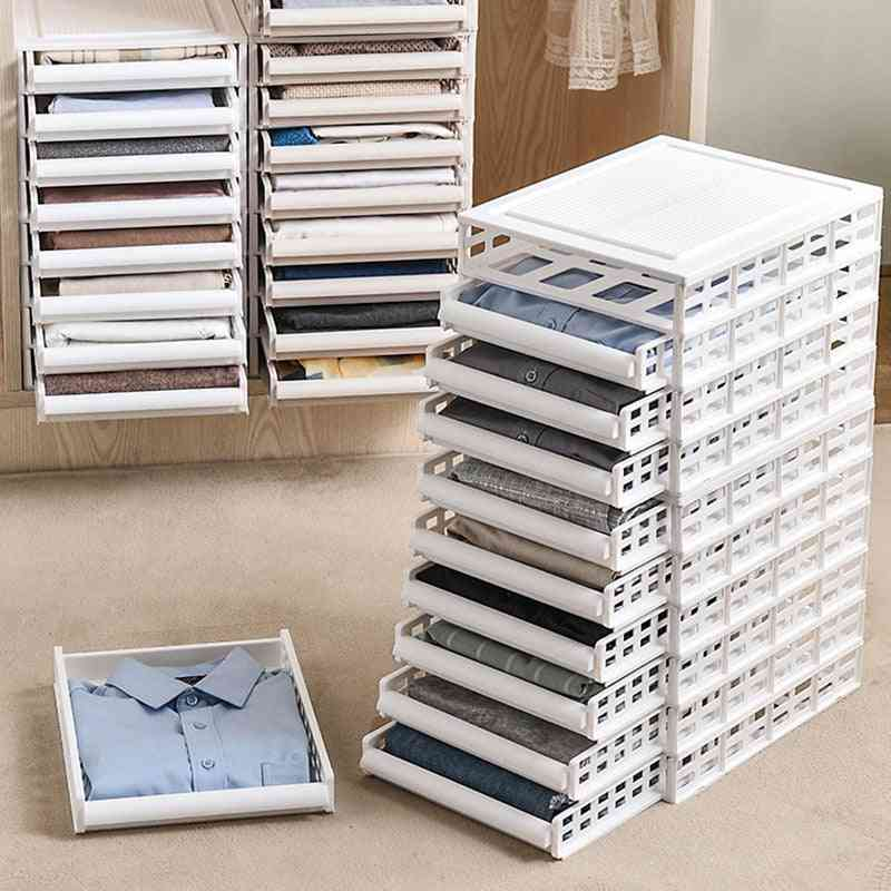 Layered Wardrobe Partition Storage Rack Drawer Foldable Cabinet Clothes Organizer
