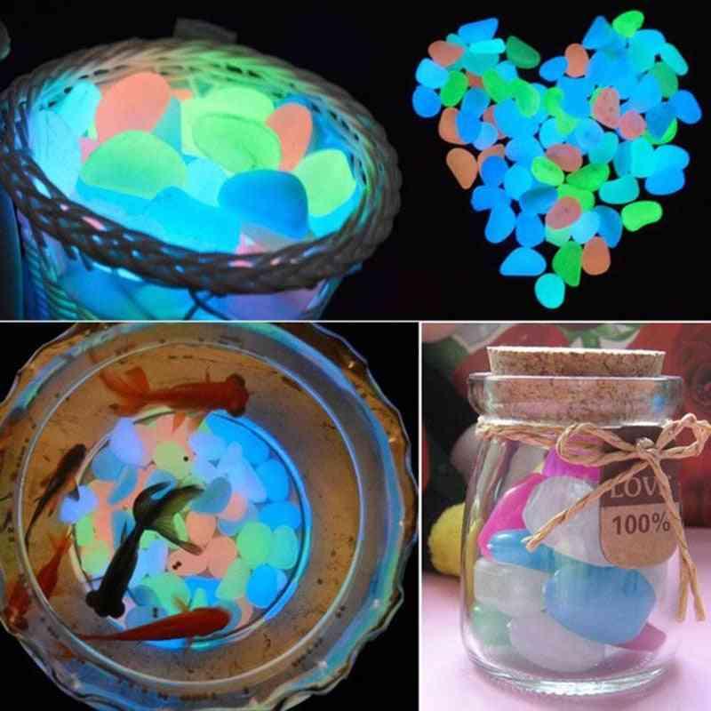 50pcs- Luminous Dark Pebbles, Glowing Stones Rock For Garden