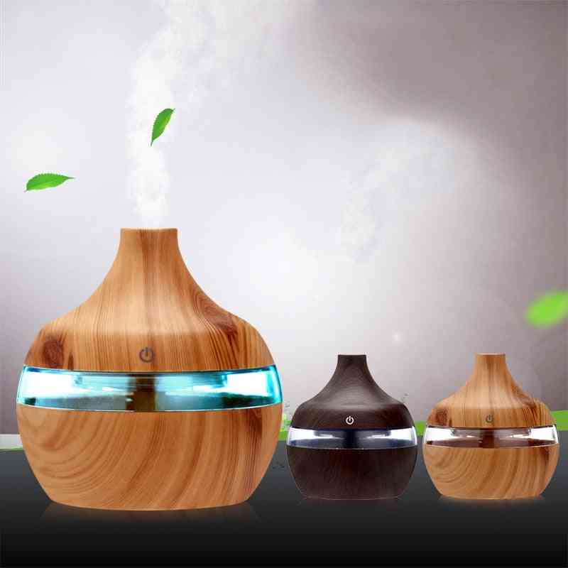 Electric Essential Aroma Oil Diffuser, Ultrasonic Wood Grain Air Humidifier