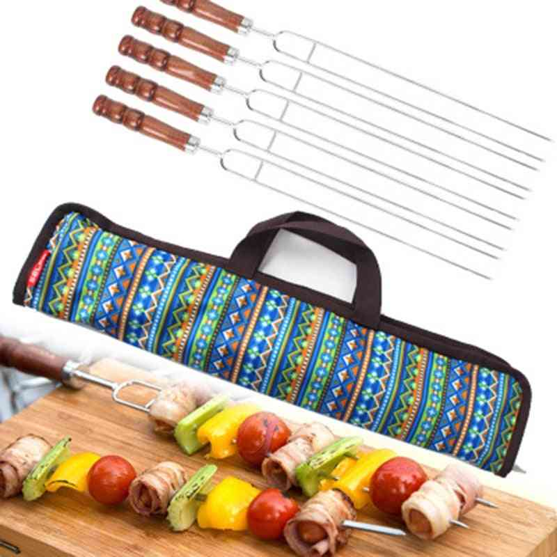 Roasting Forks With Bag, Camping Barbecue Skewers Tool