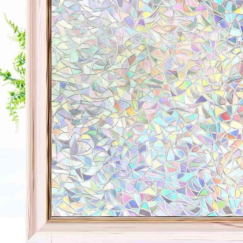 3d Rainbow Effect Window Films Privacy Decorative Anti-uv Non-adhesive Static Cling Glass Sticker