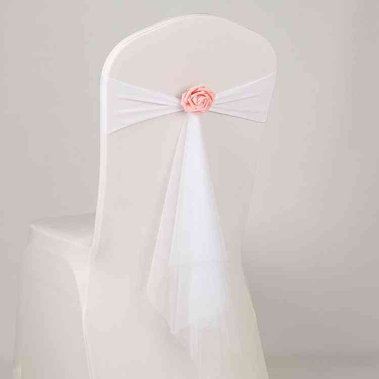 Spandex Sash With Rose Ball, Artificial Flower Organza Wedding Bow Tie Band