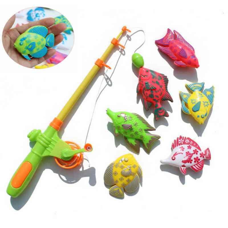 Magnetic Fishing Toy Pole Rod Model Fish Kid Baby Bath (multi)