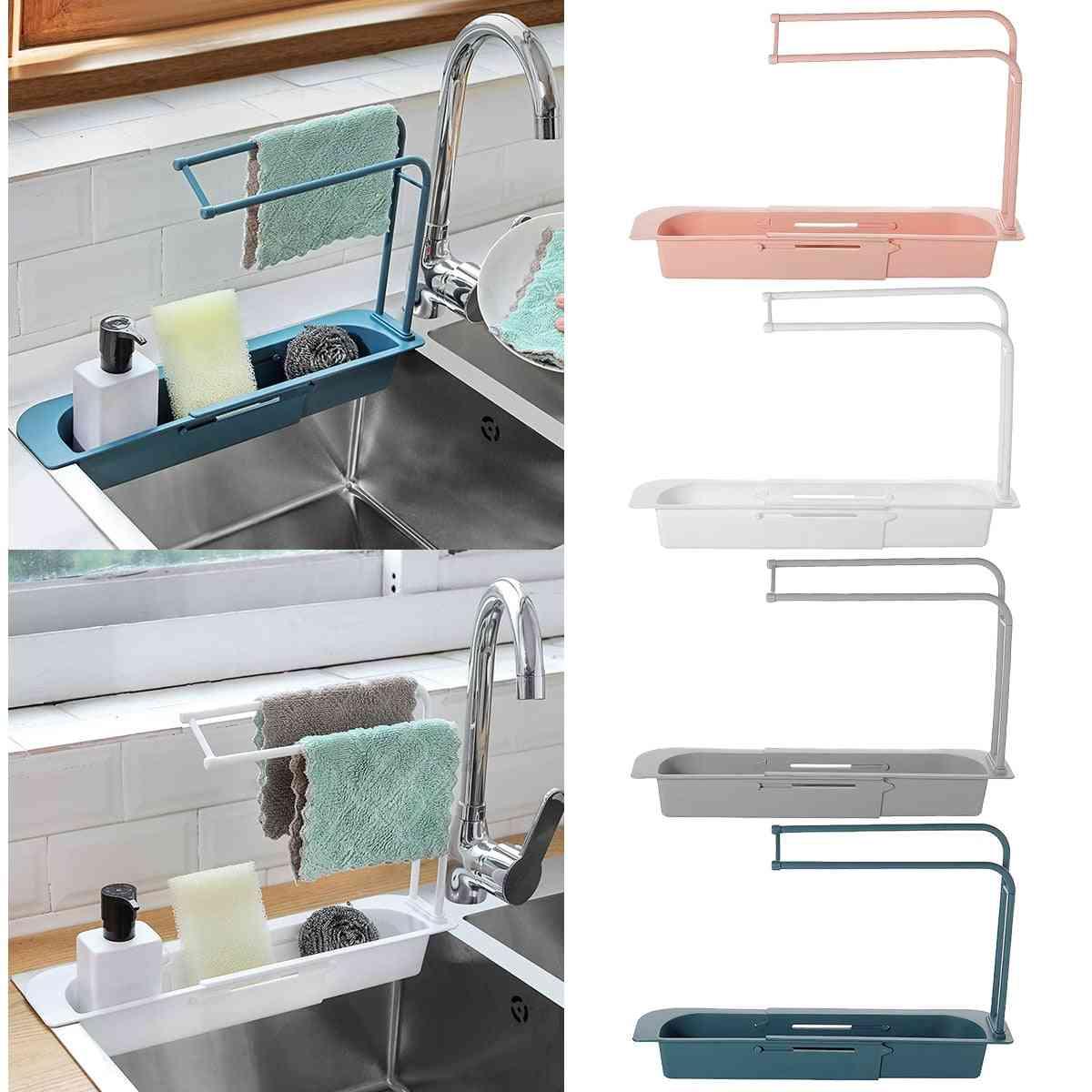 Adjustable Telescopic Sink Kitchen Drainer Rack, Storage Basket
